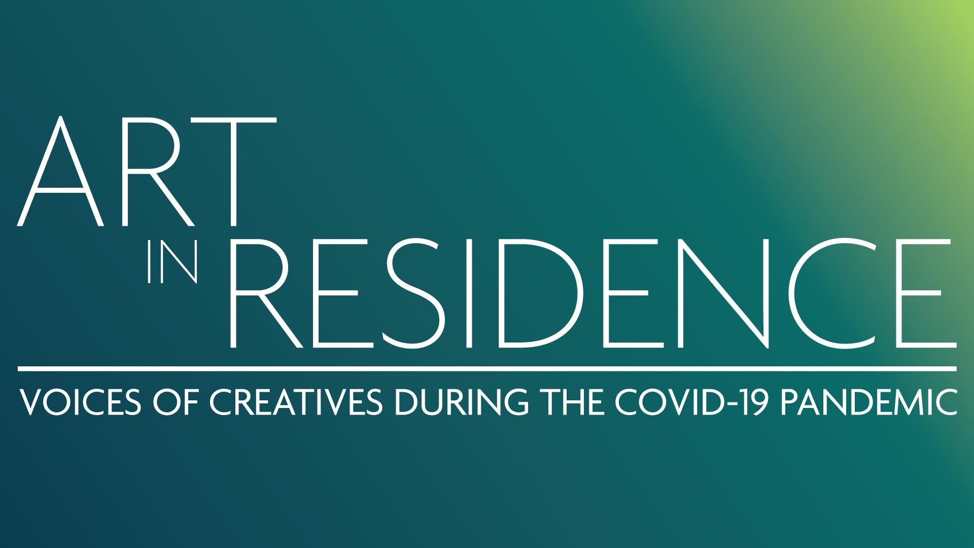 Art in Residence Logo on a blue and green ombre background