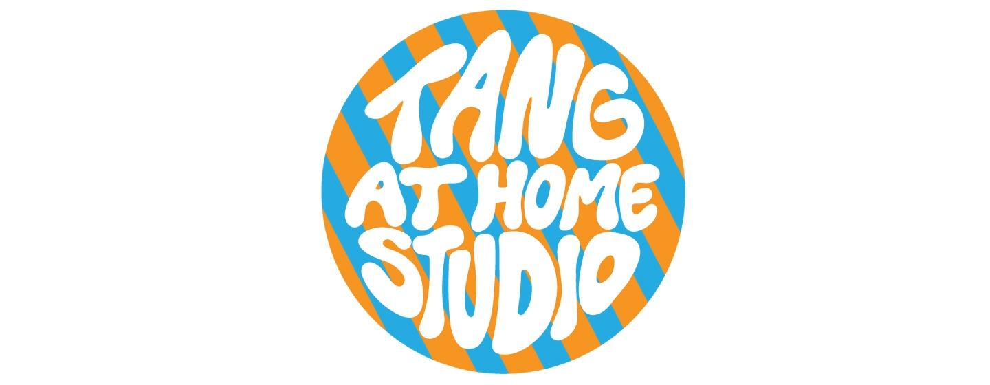 Tang at Home Studio logo in white bubble letters on an orange and blue background
