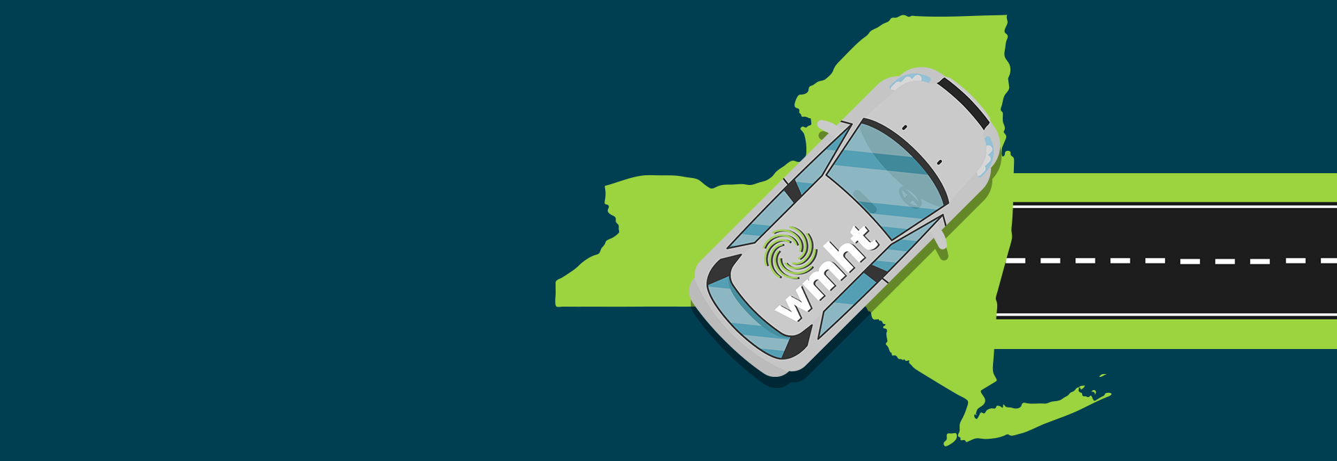 Illustration of a gray mini-van with the WMHT logo on the roof on an outline of New York State with a road leading to it and the Field Trip logo