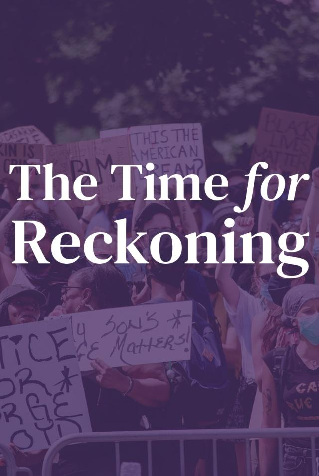 Protestors holding signs in support of Black Lives Matter with a purple transparent overlay and The Time for Reckoning Logo in white