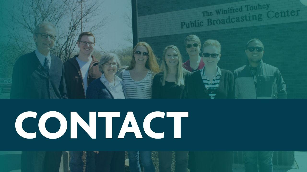 Contact button featuring a gradient image of WMHT staff.