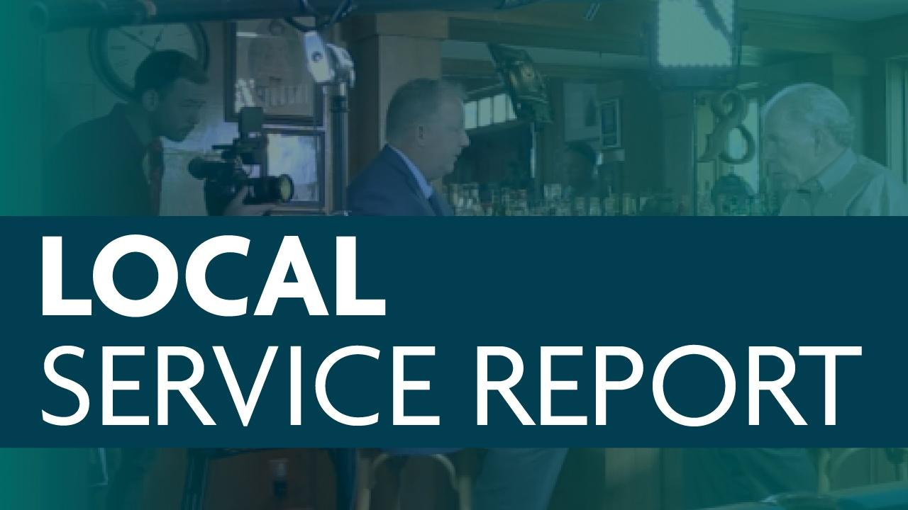 The Local Content Service Report button featuring an image of a TV interview being recorded.