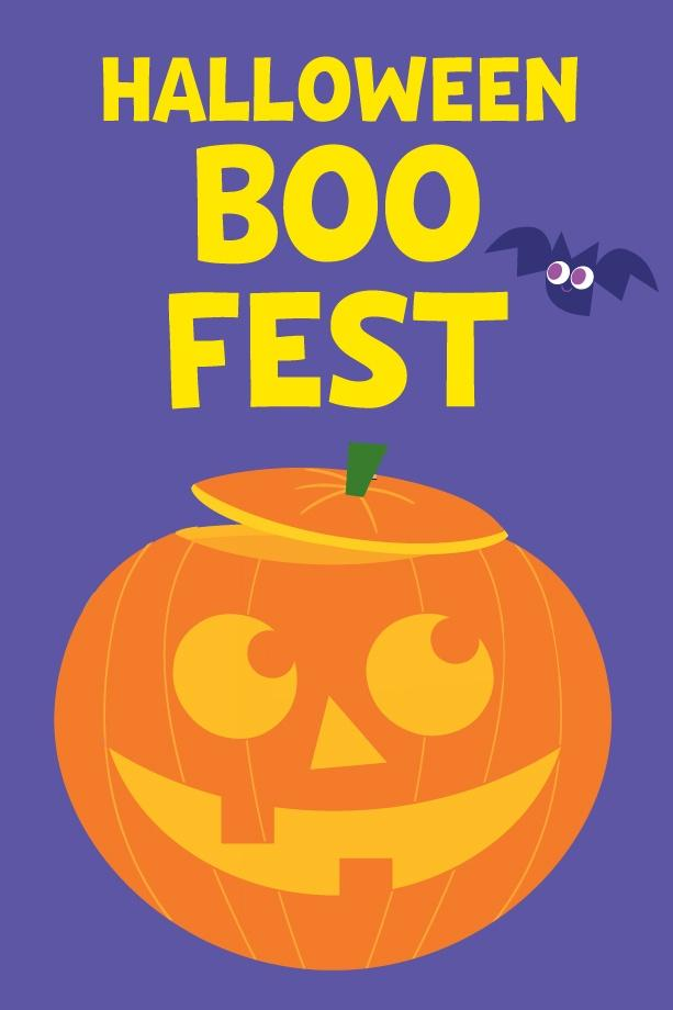 Halloween themed illustration with a purple background, smiling jack-o-lantern, and bat with the word Halloween Boo Fest in Yellow
