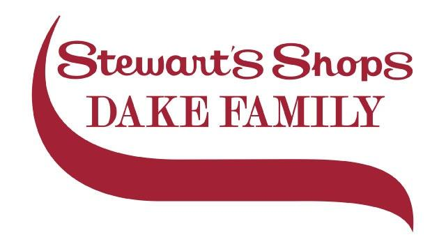 The Stewart's Shops Dake Family logo features 2 different maroon, serif font types. A maroon swirl is also featured below the type.