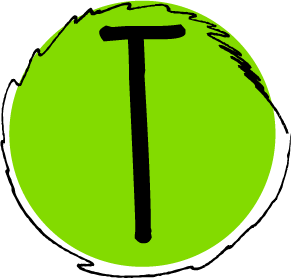 """The letter """"T"""" in the word """"STEM"""". The letter is contained within a green circle with a black border."""