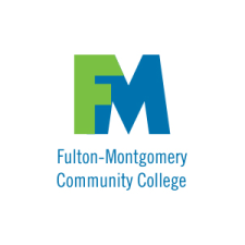 """The Fulton-Montgomery Community College logo contained within a white circle. The logo has a green letter """"F"""" and blue letter """"M"""" with blue, sans serif type."""