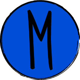 """The letter """"M"""" in the word """"STEM"""". The letter is contained within a blue circle with a black border."""