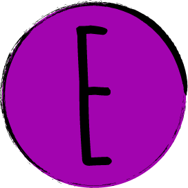 """The letter """"E"""" in the word """"STEM"""". The letter is contained within a purple circle with a black border."""