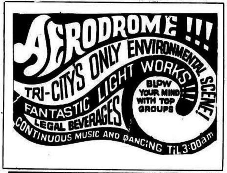 a black and white Aerodrome ad featuring swirling sans-serif text and graphical elements.