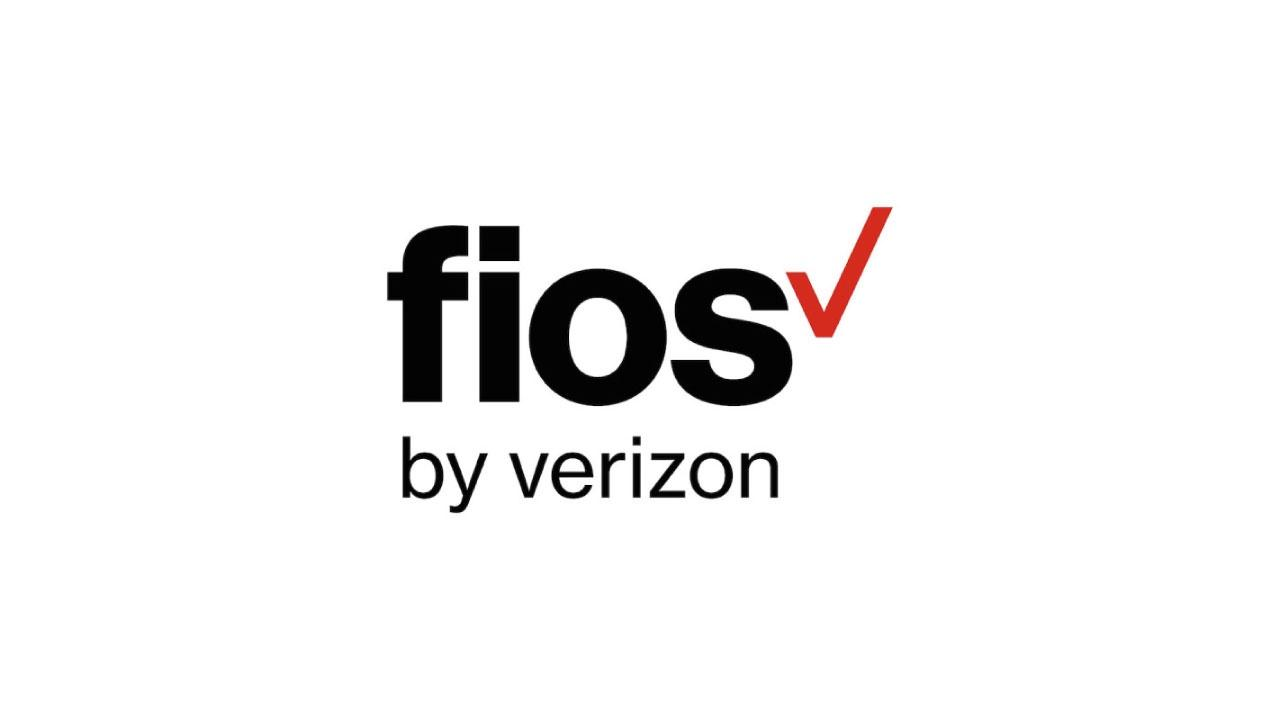 The Verizon Fios logo features black sans serif type and the red Verizon check mark.