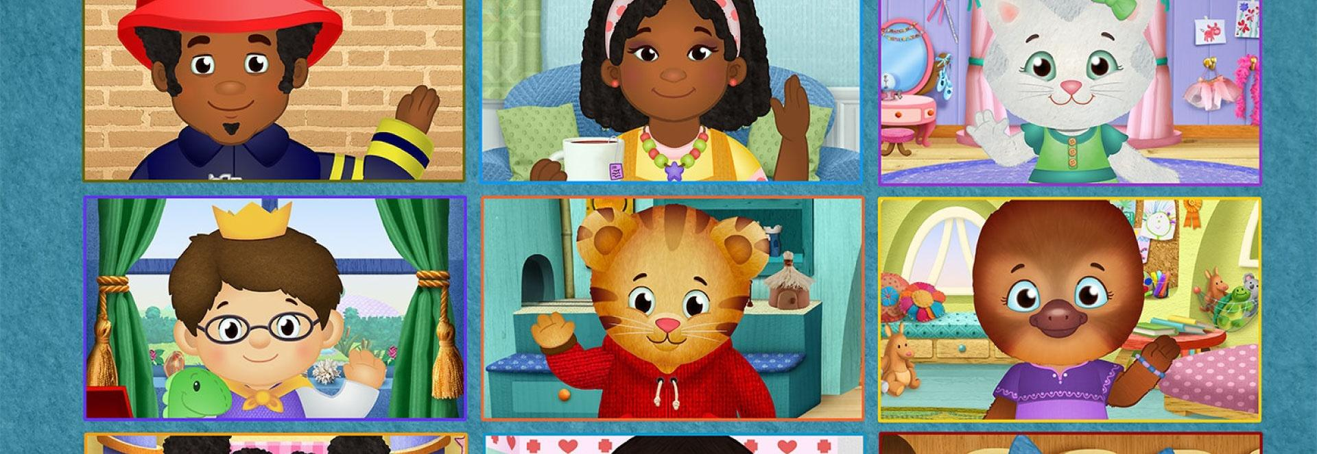 A video call-style mosaic image of characters from Daniel Tiger's Neighborhood waiving at the camera.