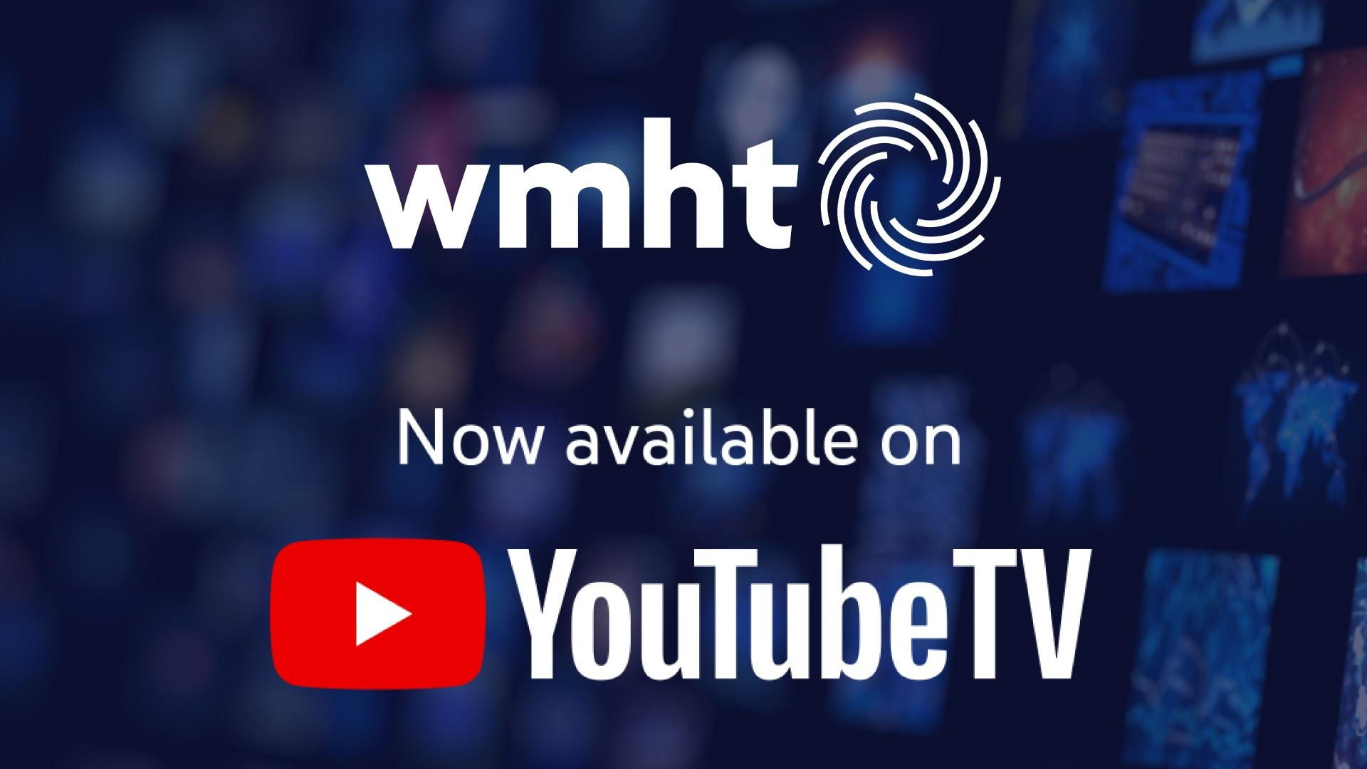 WMHT and YouTube TV Logo on Dark Blue Background
