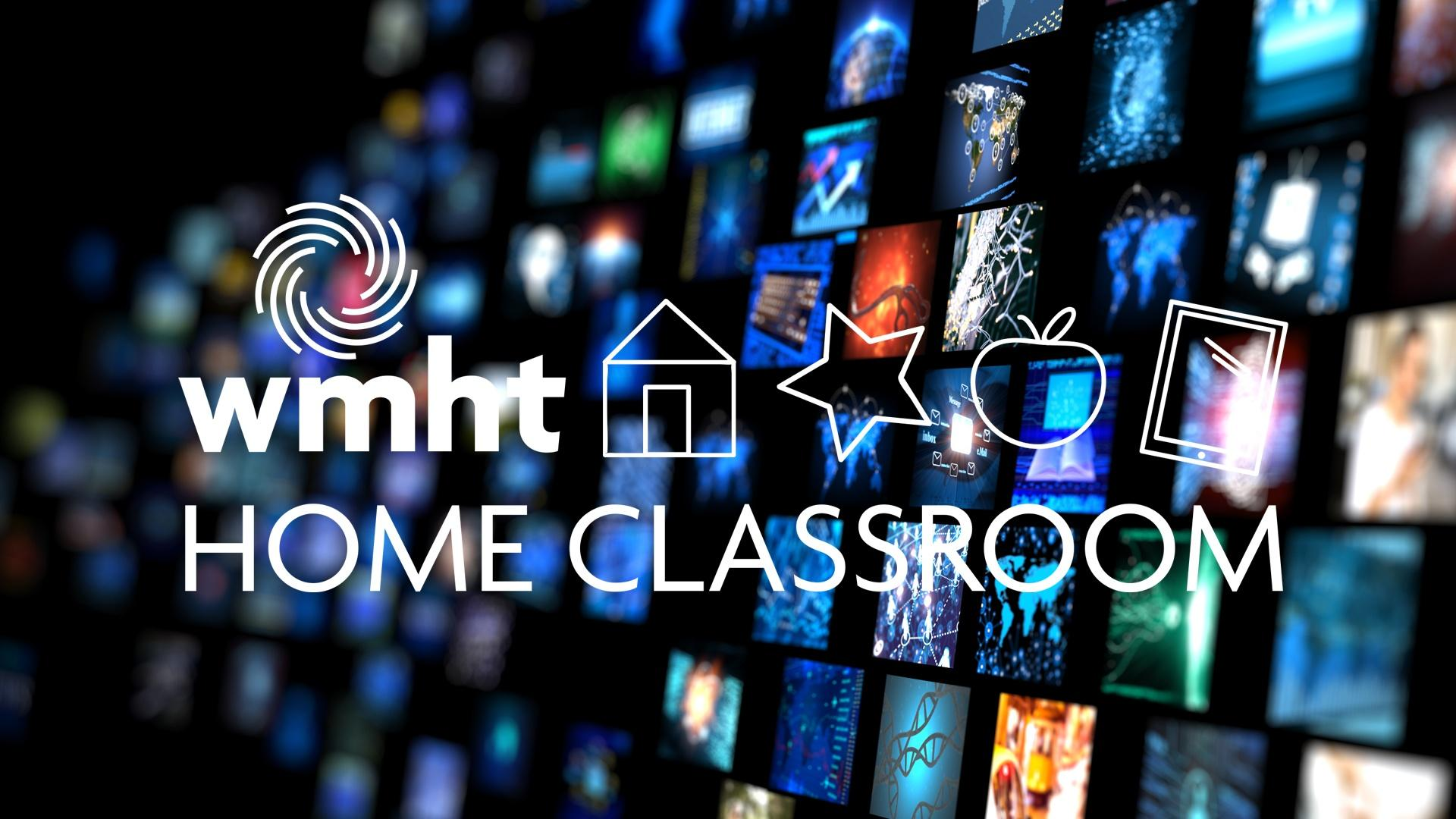 Wall of Screens with WMHT Home Classroom Logo