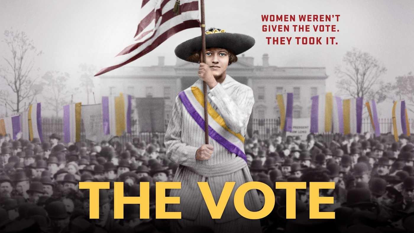 The Vote Signature Image with a Woman holding an American Flag