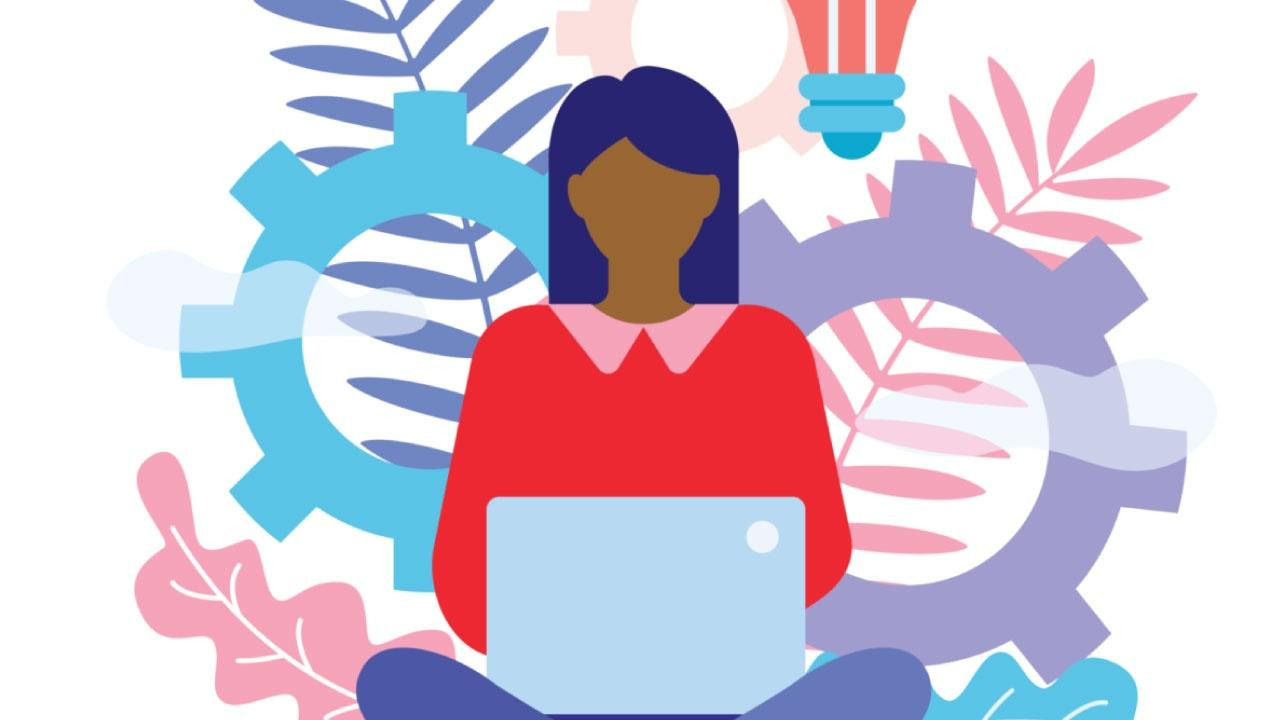 Illustration of a woman with a laptop in her lap