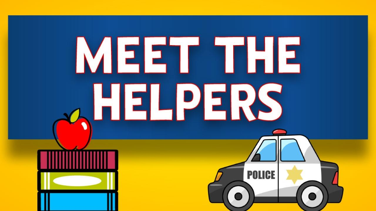 Meet the Helpers title graphic featuring a police car, a stack of books, and an apple.