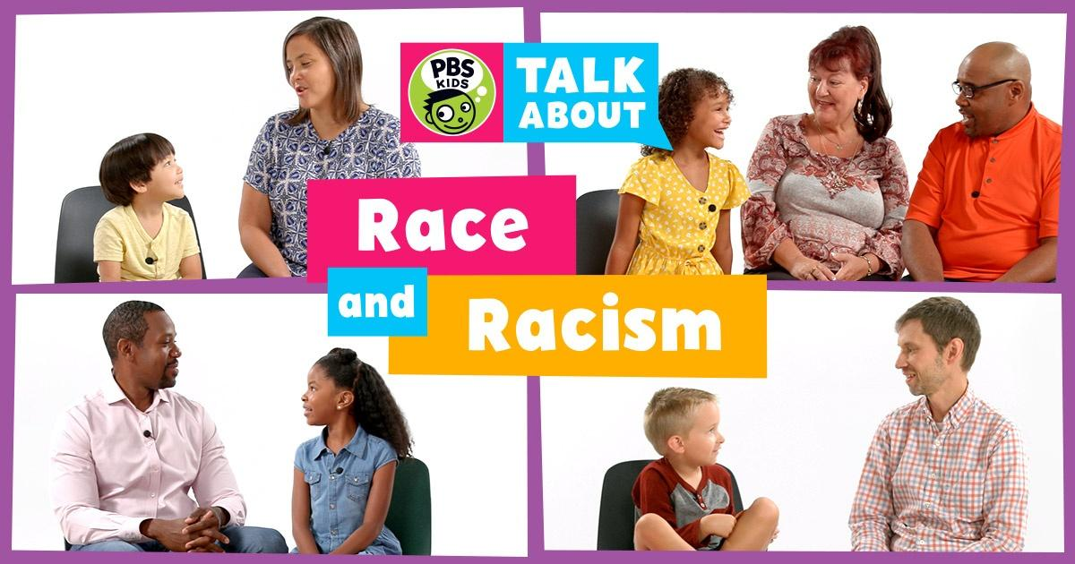 Families from multiple ethnic backgrounds are sitting and talking with their children about race and racial justice.