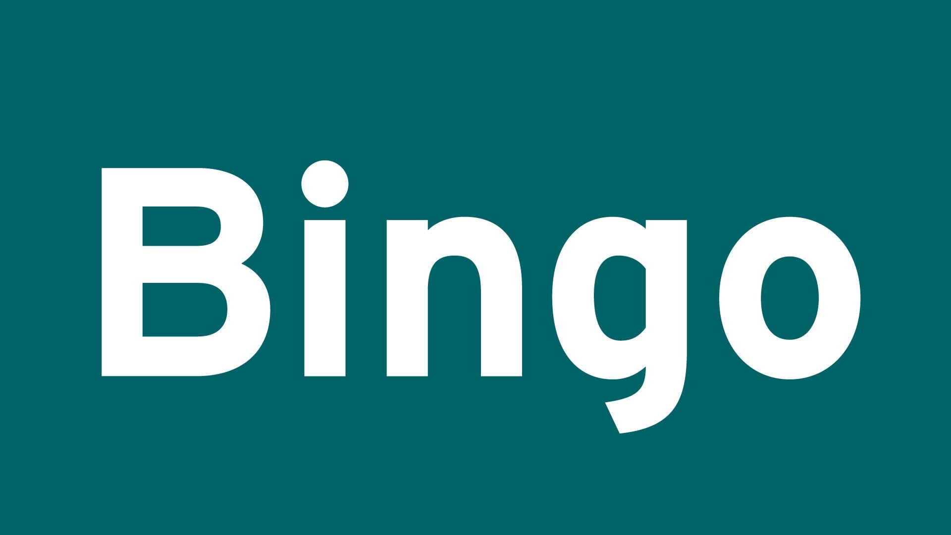 The word Bingo in white, sans-serif type on a green background.