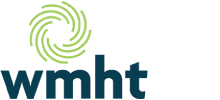 WMHT Logo, blue sans serif lowercase letters with a green circular logo mark