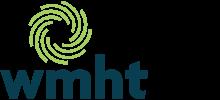 WMHT Logo, blue sans serif lowercase letters with a green circular logo mark