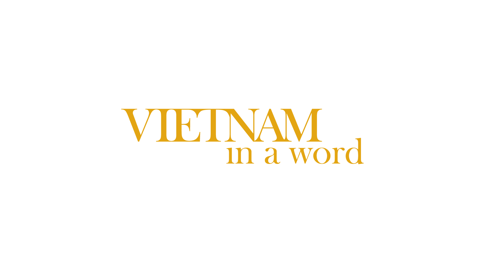 Vietnam in a Word logo in gold, serif type.