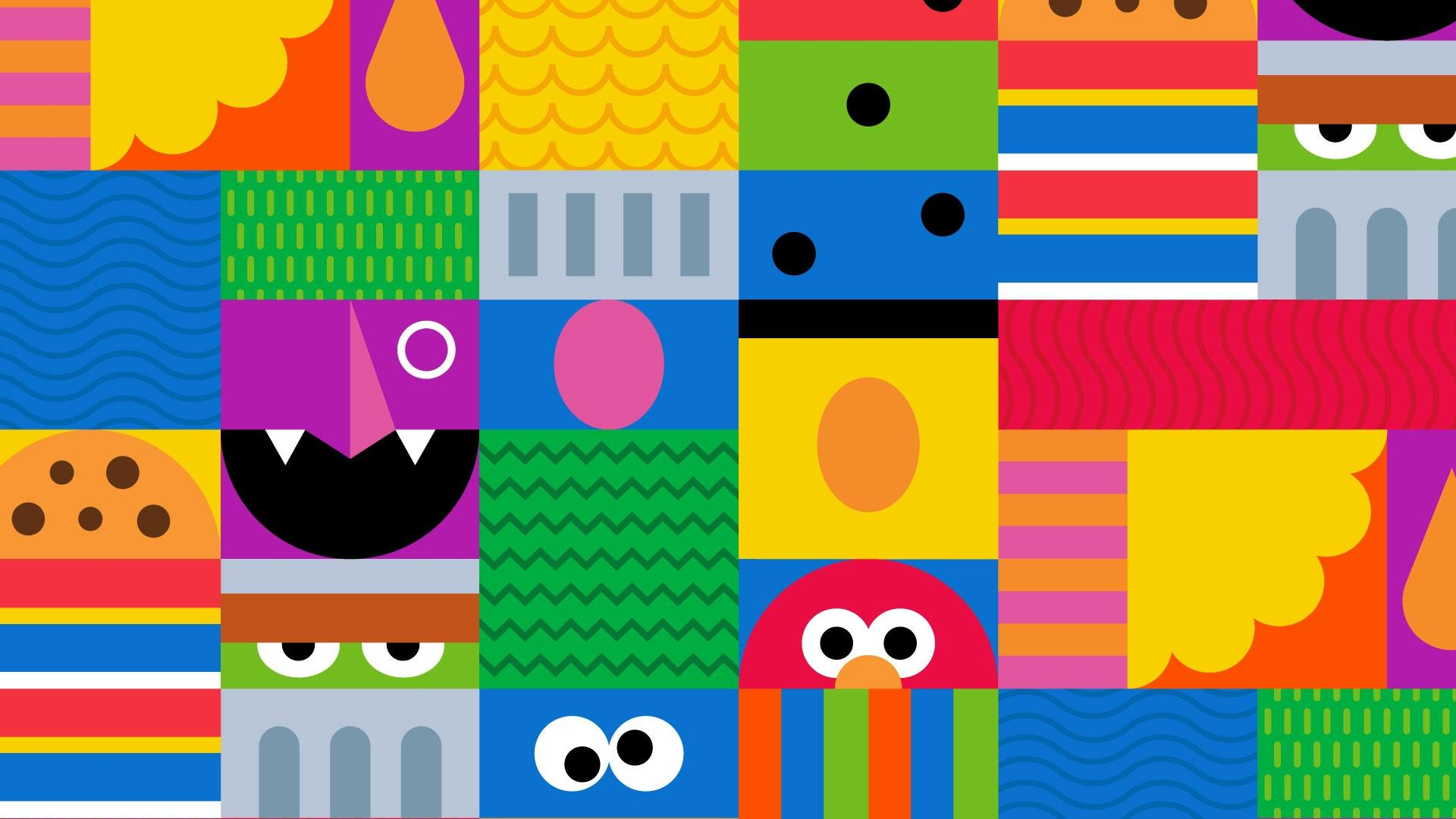 a colorful mosiac of shapes and other identifying features of various Sesame Street characters.