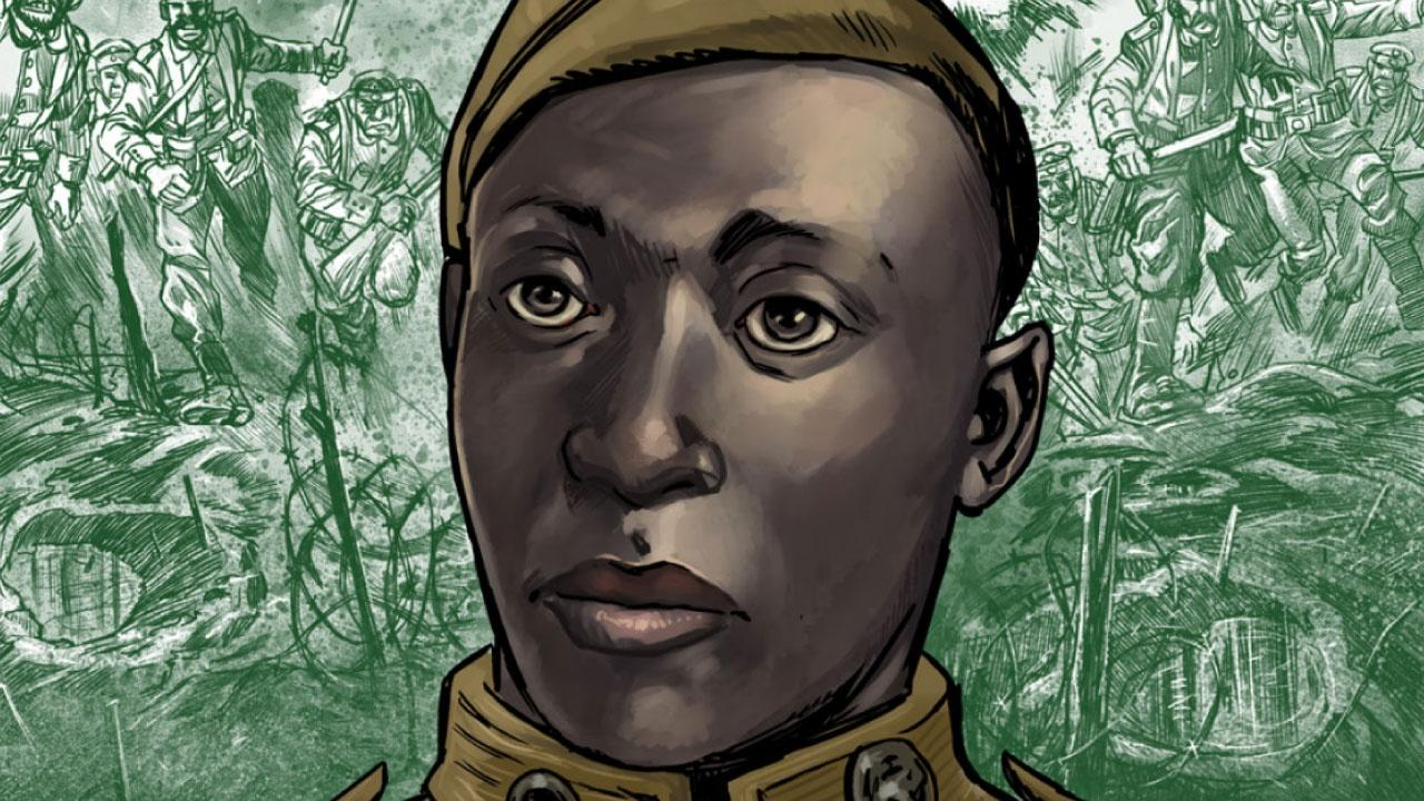 An illustrated portrait of Henry Johnson from a graphic novel.