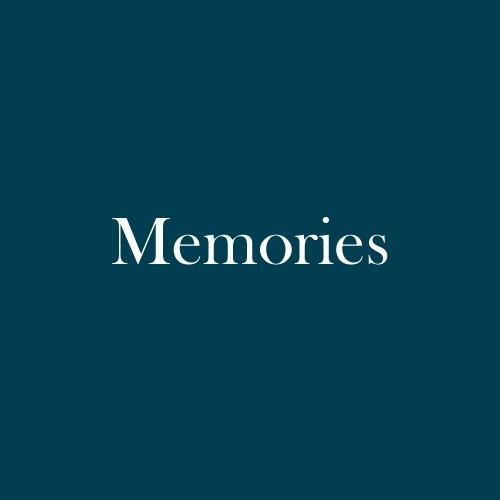 "The word ""Memories"" is displayed in white, serif, type on a dark green background."