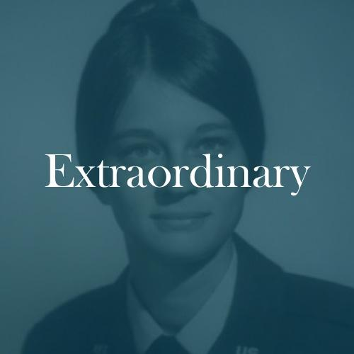 "The word ""extraordinary"" is displayed in white, serif, type on a transparent green overlay on an image of Maryanne from Ballston Lake."