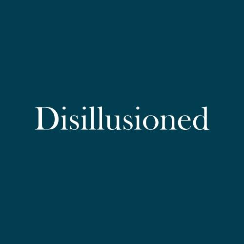 "The word ""disillusioned"" is displayed in white, serif, type on a dark green background."