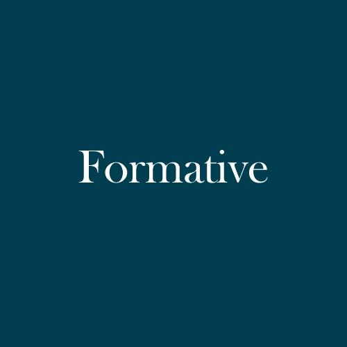 "The word ""formative"" is displayed in white, serif, type on a dark green background."
