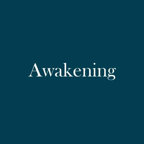 "The word ""awakening"" is displayed in white, serif, type on a dark green background."