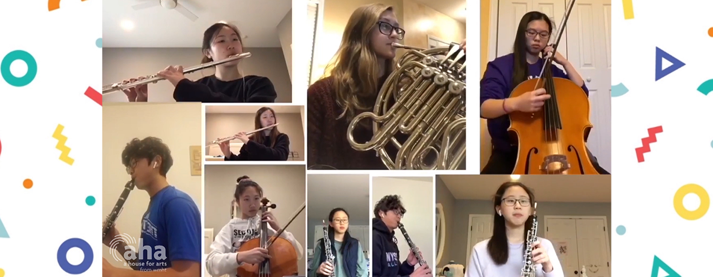 Members of the Empire State Youth Orchestra Playing in a Virtual Concert