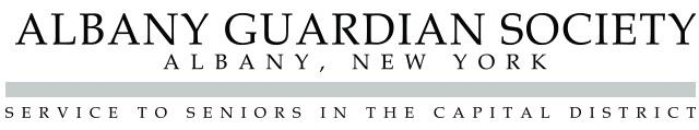 Albany Guardian Society Logo with the words Albany, New York and Service to Seniors in the Capital District below in black, serif font