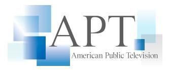 APT American Public Television Logo with the letters A P T surrounded by transparent blue rectangles and the word American Public Television below