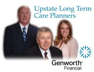 Two men and one woman in professional office attire with the words Upstate Long Term Care Planners above them in blue and the Genworth Financial logo below them.