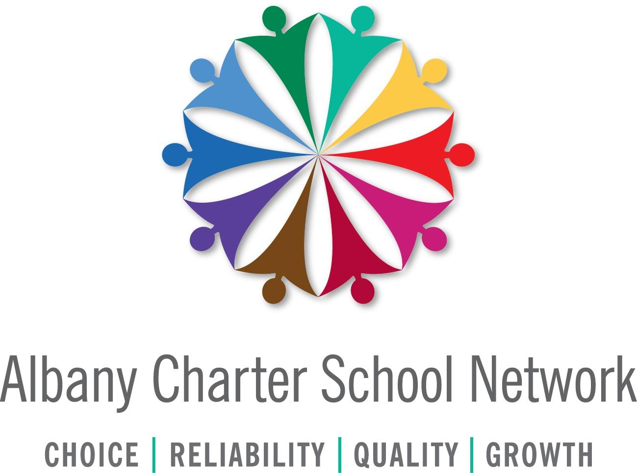 Albany Charter School Network Logo featuring a rainbow colored circle emblem comprised of human-like figures with the words Choice, Reliability, Quality, and Growth beneath