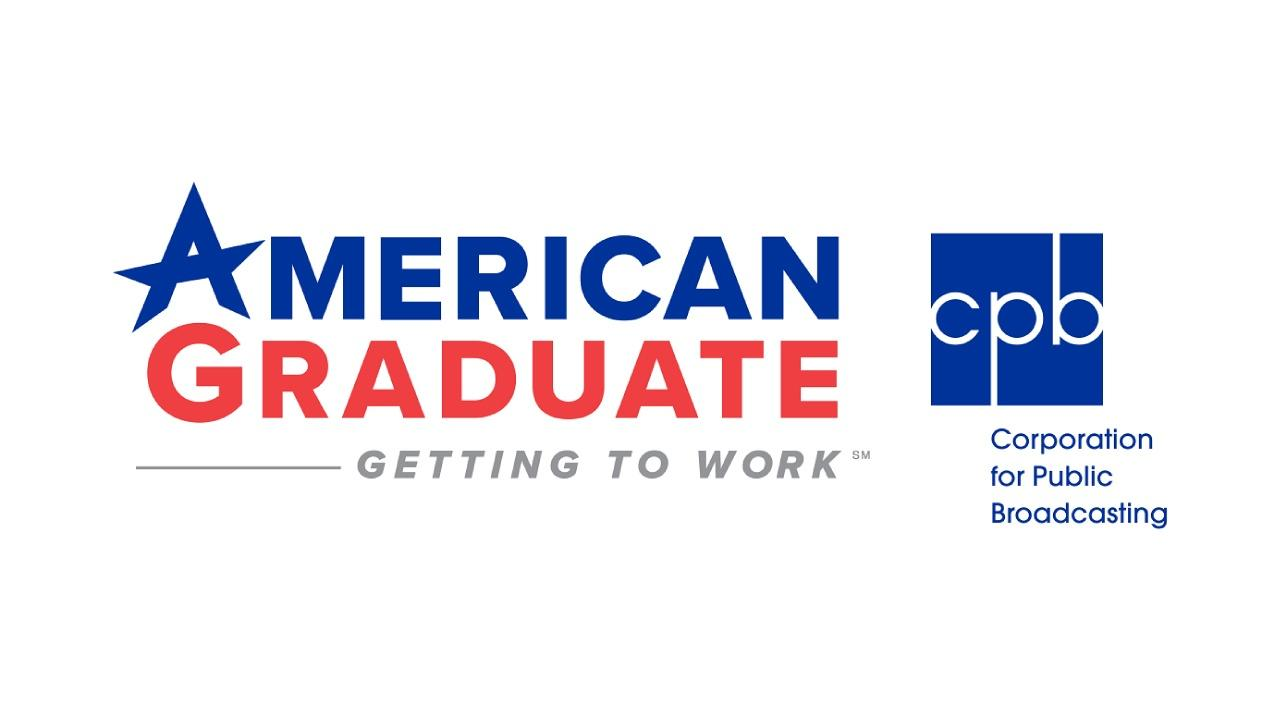 American Graduate and CPB Logo Lockup with American in blue stacked on top of Graduate in Red with the words  Getting to Work in gray below and the CPB, Corporation for Public Broadcasting logo to the right