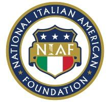 National Italian American Foundation Logo with a blue and gold circle outline and a symbol with the Italian Flag in the middle