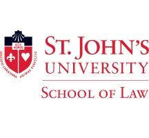 St. John's University School of Law Logo in Red with an emblem in red and black to the left
