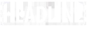 The HEADLINE Logo in white sans-serif type in between two braces.