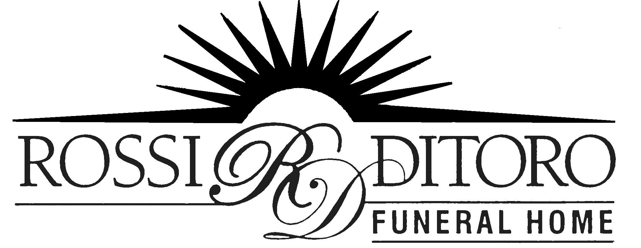 Rossi Ditoro Funeral Home Logo in black with a sunray emblem on top