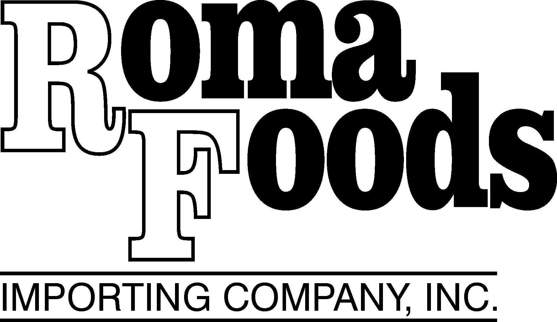Roma Foods Logo in black and white with the words Importing Company, Inc. below