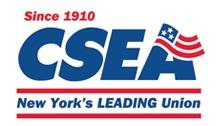 CSEA Logo in dark blue font with the words New York's Leading Union below and Since 1910 above in red