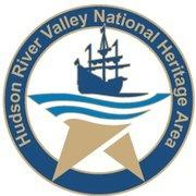 Hudson River Valley National Heritage Area Logo with a dark blue circle, gold writing, and a gold star with some illustrated river waves and a ship