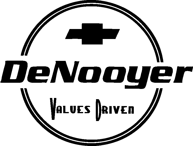 DeNooyer Chevrolet Logo with the Chevy emblem and the words 'Values Driven' below