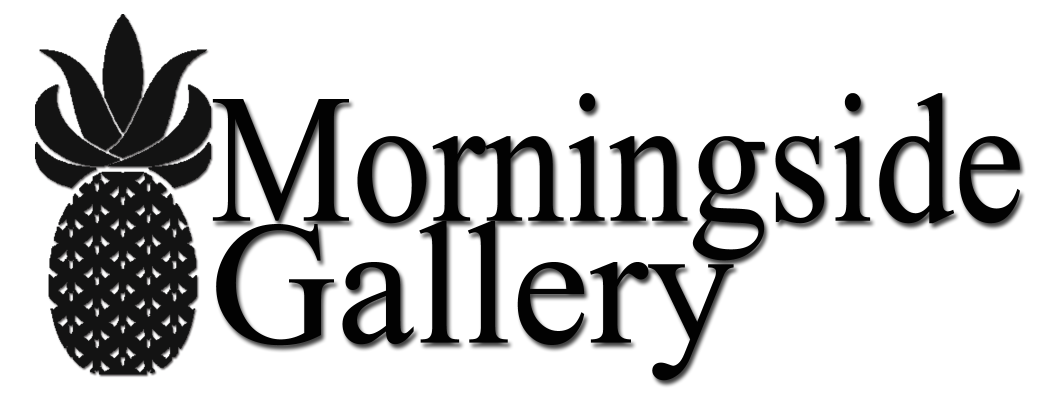 Morningside Gallery Logo in black with a pineapple illustration to the left