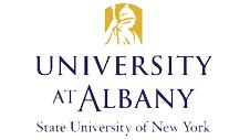 University at Albany Logo in purple on a white background with the words State University of New York below