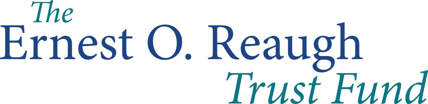 The Ernest O. Reaugh Trust Fund Logo in dark blur and light blue serif font