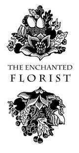 The Enchanted Florist Logo in black with floral illustrations above and below the serif type